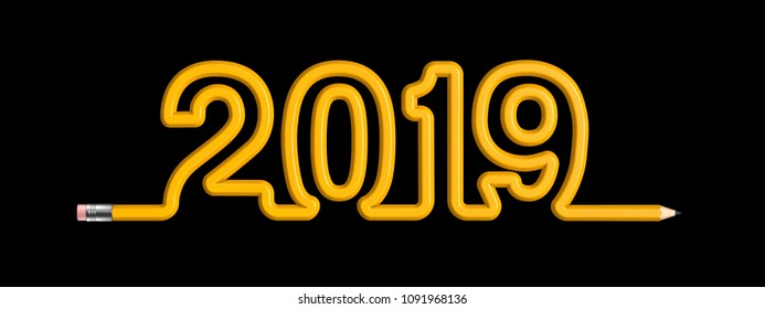 Pencil 2019 concept / 3D illustration of yellow wooden pencil forming year 2019 text
