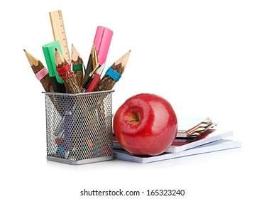 pencil box with school equipment