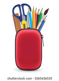 Pencil case isolated on white. Realistic 3d illustration