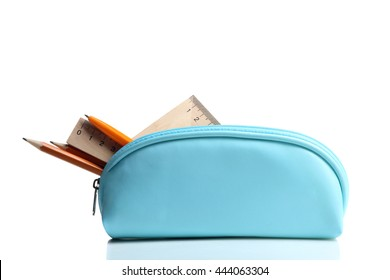 pencil case with rulers and pencils on white isolated background