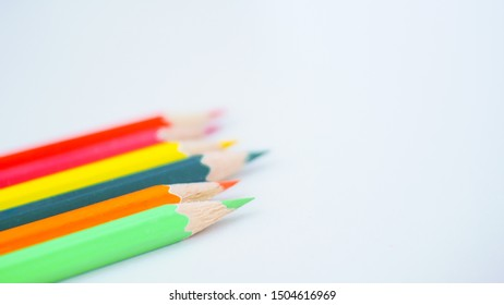 Pencil color on white background creating concept.