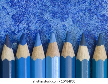 pencil crayons in different shades of blue