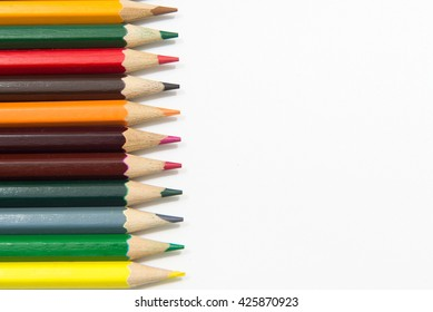 Pencil Crayons on white background,isolated