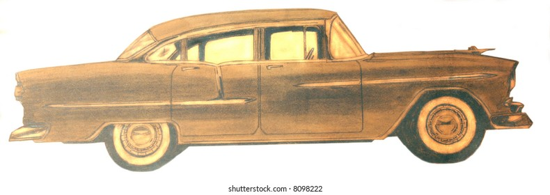 pencil drawing of a 57 Chevy
