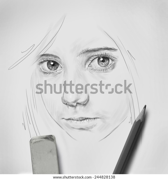 Pencil Drawing Beautiful Girl Big Eyes Stock Photo Edit Now 244828138