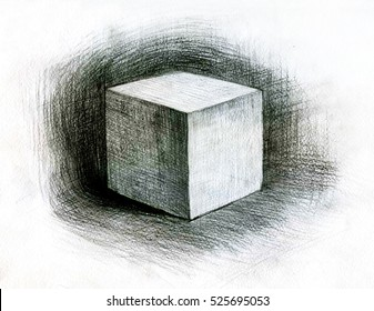 Pencil drawing cube. Still life. Art student learning the disciple, class work, training.