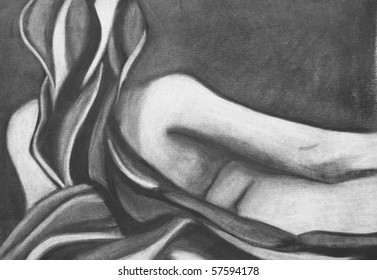 Pencil drawing of a nude woman.