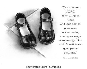 Pencil Drawing of Small Shoes with Bible Verse from Proverbs