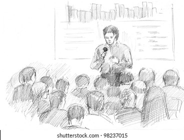 pencil drawing of a young manager making a presentation in a big auditorium
