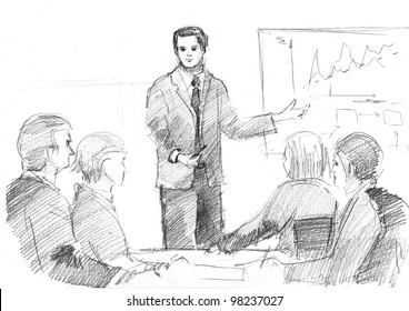 pencil drawing of a young manager making a presentation
