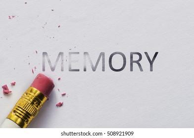 Pencil eraser with eraser. Erase MEMORY text