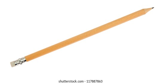 Pencil with eraser, isolated on background