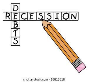 pencil filling in crossword with recession and debts