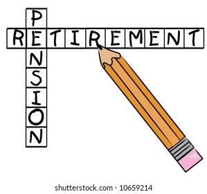 pencil filling in crossword with the words - pension and retirement