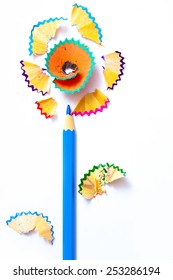 pencil flower with pollen from the lead. copy space