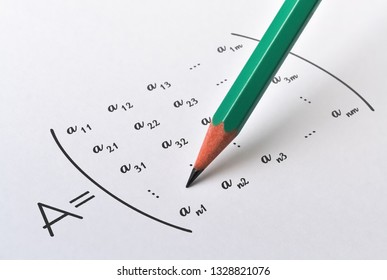 Pencil and general form of a matrix on bright background