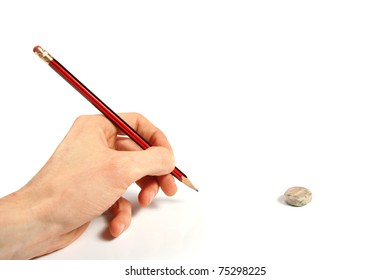 pencil in the hand isolated on white