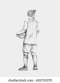 Pencil illustration, hand graphics - Soccer player holding ball