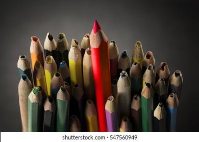Pencil Inspire Concept, Sharp Creative Idea in Crowd Used Broken Pencils without Imagination, Closeup