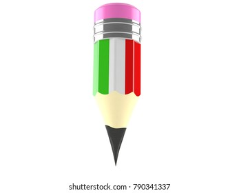 Pencil with italian flag isolated on white background. 3d illustration