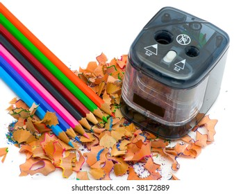 pencil & knife-sharpener isolated on the white background