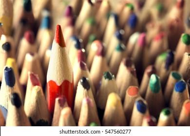 Pencil Leader Concept, Sharp in Used Pencils Crowd, New Unique Idea in Old Broken Business, Closeup