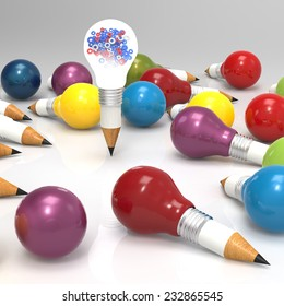 pencil light bulb with gears as leadership concept