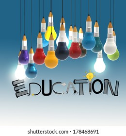 pencil lightbulb 3d and design word EDUCATION as concept