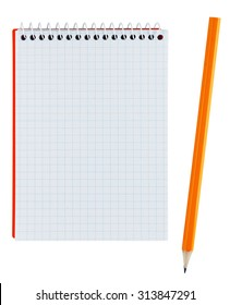 Pencil and notebook isolated on white