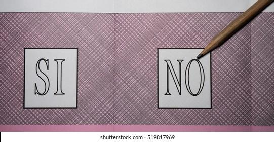 pencil on an Italian referendum ballot paper indicating NO translation: yes, no