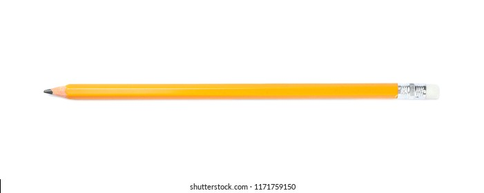 Pencil on white background. School stationery
