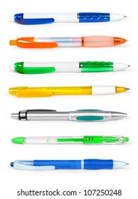 pencil and pen collection isolated on white