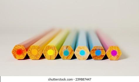 Pencil rainbow. Pecils lying in a line