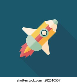 pencil rocket flat icon with long shadow,eps10