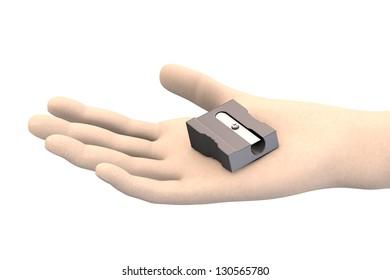 pencil sharpener in hand