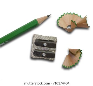 A pencil sharpener with a sharpened pencil and pencil shavings