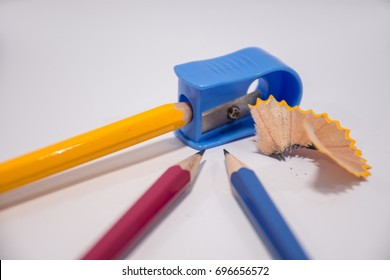 Pencil with sharpening shavings on white background,Students sha