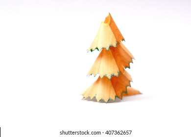 Pencil shaving Christmas tree isolated on white