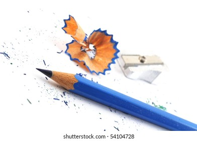 pencil and shavings isolated on with background