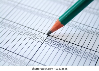 Pencil showing financial report