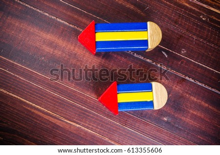Pencil Sign Wooden Triangle Blocks Shape Stock Photo Edit Now