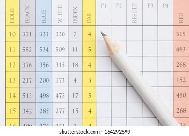A pencil sitting on a golf score card