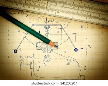 pencil and a slide rule on the old page with the calculations in mechanics