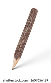 pencil stylized tree branch with shadow isolated on white background with clipping path included.