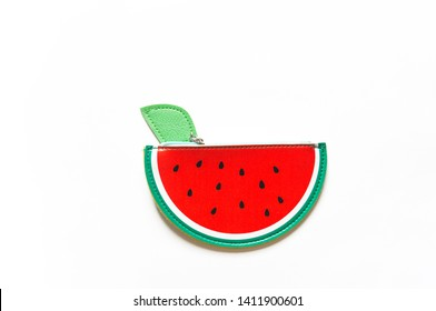 Pencil wallet fruit Watermelon summer. White background Back to school. Baby accessories
