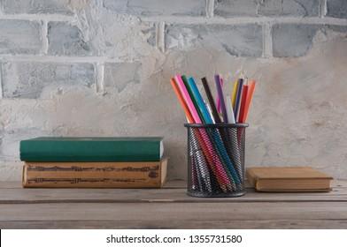 Pencilcase, pencils and books