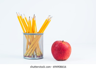pencils and an apple for back to school