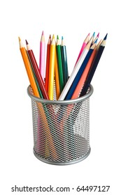 Pencils in basket isolated on a white background