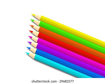 Pencils colored with different colors on a white background
