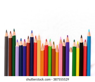 Pencils Colour isolated on white background with sapce of text